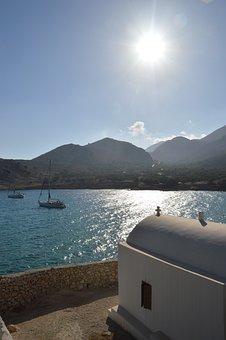 Chalki, Sea, Greece, Church, Boat, Sun, Island