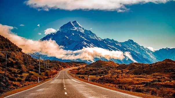 New Zealand, Landscape, Mountains, Snow, Sky, Clouds