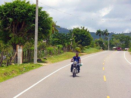 Man, Motorbike, Dominican, Republic, Road, Traffic