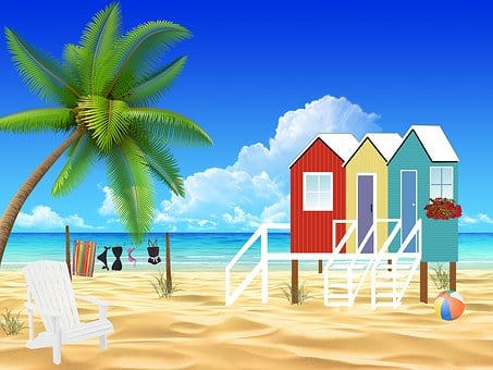 Huts, Houses, Beach, Sea, Flowers, Holiday, Seaside