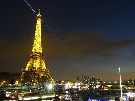 Eiffel Tower, Night, Illuminated, Its, Lights, City