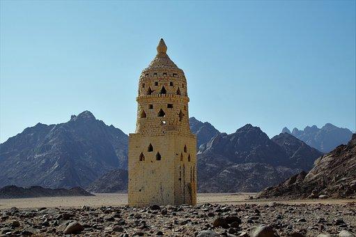 Desert, Mountains, Landscape, Building, Egypt