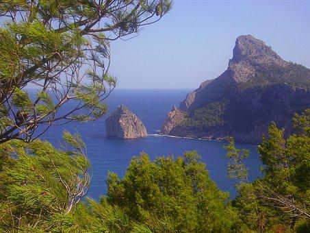Pollenca, Spain, Trees, Rocks, Rocky, Sea, Ocean, Water