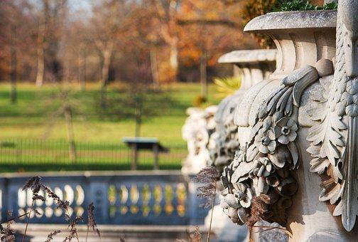 London, Park, England, Autumn, Italian Gardens, Vase