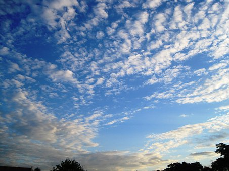 Clouds, Spread, Radiating, White, Flocked, Bright, Sky