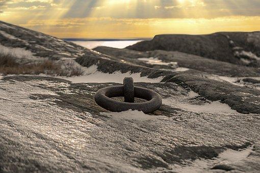 Sea, Ring, Sky, Rock, Winter, Landscape, Frost