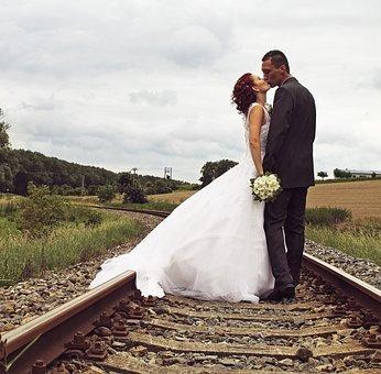 Wedding, Track, Summer, Railway, Coupple, Love, Bride