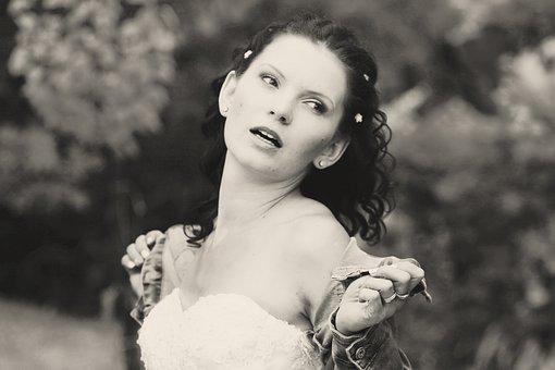 Bride, Wedding, Face, Breast, Black And Whire