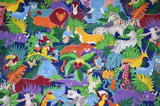 Animated, Safari Animals, Background, Array, Colorful