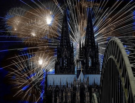 Cologne Cathedral, Fireworks, Darkness, New Year's Eve