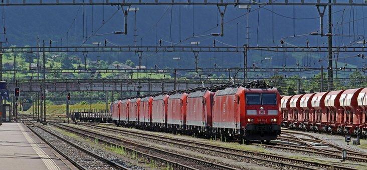 Switzerland, Gotthard, Train Station In Erstfeld