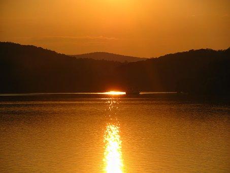 Sunset, Landscape, Lake, Brno, Prigl, Orange, Ship