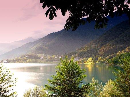Water, Lake, Tree, Nature, Italy, Ledro, Landscape