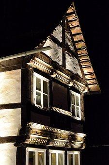 Fachwerkhaus, Truss, Lighting, Building, Historically