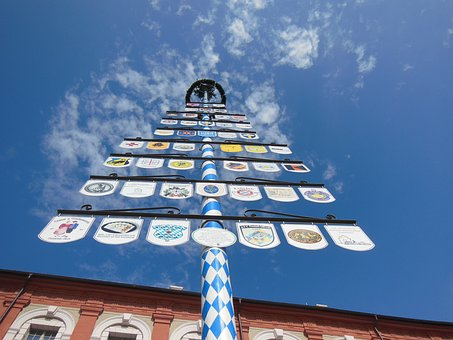 Maypole, Spring, Bavaria, Blue, White, Tradition, May