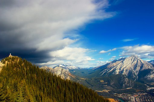Banff, Canada, Alberta, Mountains, Sky, Clouds, Forest