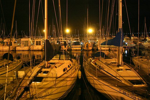 Port, Night Mood, Ships, Boats, Northern Spain