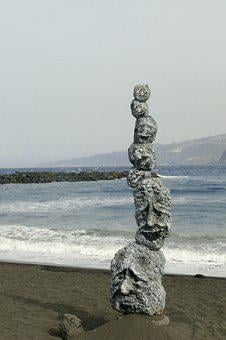 Figure, Stones, Faces, Stack, Sea, Mimic, Sculpture