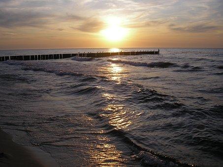 Sea, The Sun, The Coast, Beach, The Waves, Sunset, Piet