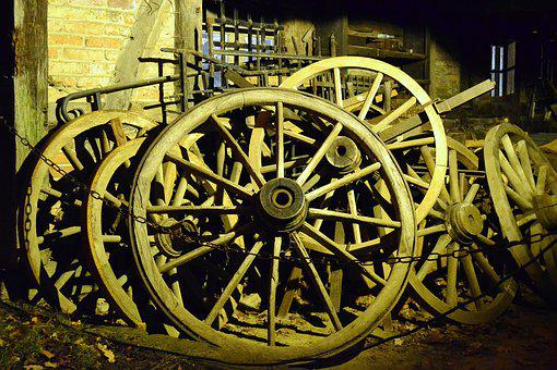 Wheels, Wooden Wheels, Nostalgia, Antique, Historically