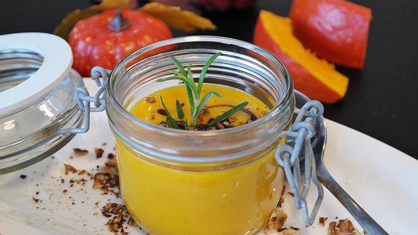 Pumpkin Soup, Hokkaido, Autumn, Orange, Plate, Eat