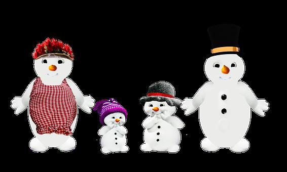 Snowman, Family, Parents, Children, Winter, Wintertime