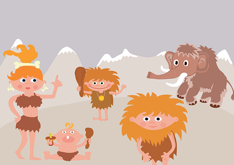 Prehistoric, Mammoth, Family, Primitive Man, Funny