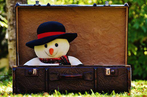 Winter Ade, Snowman, Send Away, Luggage, Antique, Funny