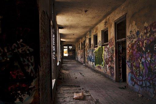 Abandoned, School, Florida, Usa, Graffiti, Corredor