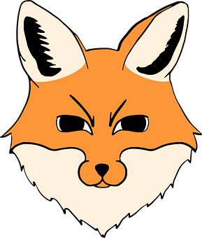 Fox, Head, Animal, Vector, Illustration, Caricature