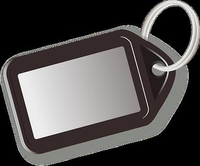 Key Ring, Key, Tag, Label, Plain, Black
