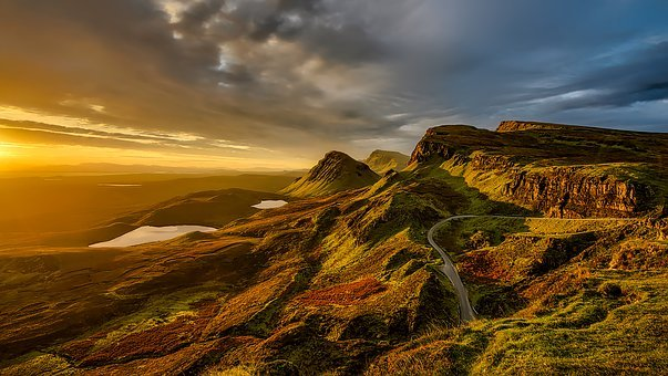 Scotland, Landscape, Mountains, Hills, Scenic, Sunset