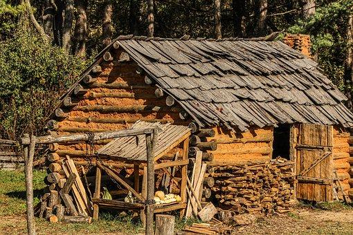 Hut, Cabin, Settlers, Settlers Cabin, Mud, Wattle, Logs