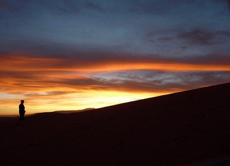 Sunset, Atacama, Moon, Valley, Argentine, Flag