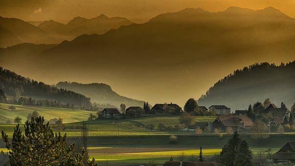 Landscape, Autumn, Twilight, Mountains, Afternoon
