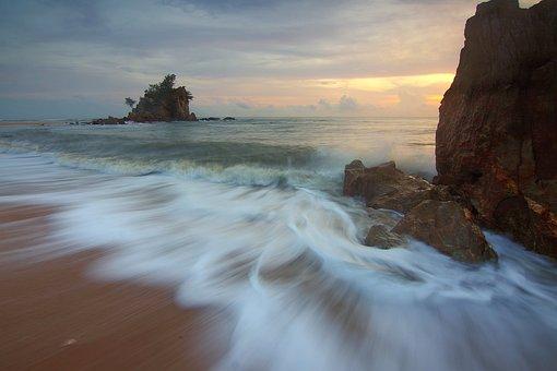Water, Sunrise, Ocean, Island, Sea, Waves, Motion