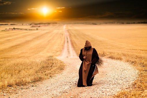 Monk, Pilgrimage, Path, Sunset, Pilgrim, Walk, Road