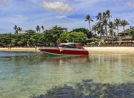 Boat, Sea, Palms, Ocean, Water, Ship, Blue, Sky, Travel