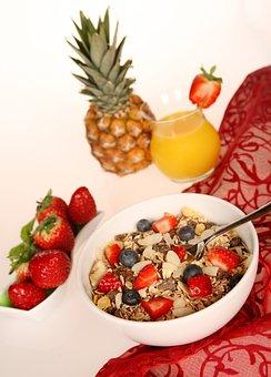 Muesli, Cereals, Oatmeal, Fruit, Strawberries