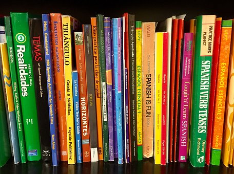 Books, Bookshelf, Textbooks, Spanish, Language, School