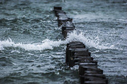 Sea, Waves, Wave Breakers, Wooden Wave Breakers, Splash