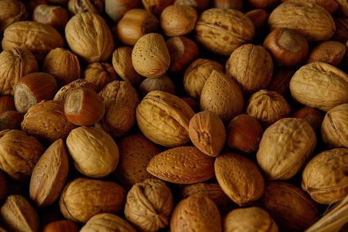 Nuts, Almonds, Hazelnuts, Mix, Protein, Food, Snack