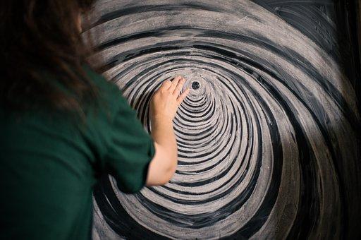 Blackboard, Painting, Chalk, Tunnel, Artistic, Curves