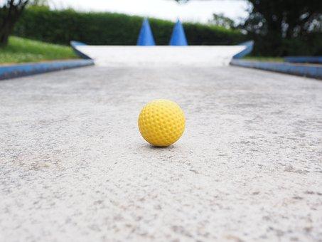 Ball, Mini Golf Ball, Yellow, Checkered, Ball Guide