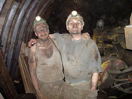 Coal, Black, Black And White, Underground, Miners