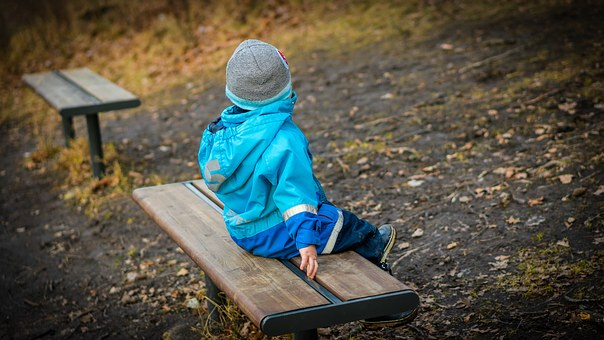 Boy, Son, Young, Bench, Sitting, Looking Away, Back