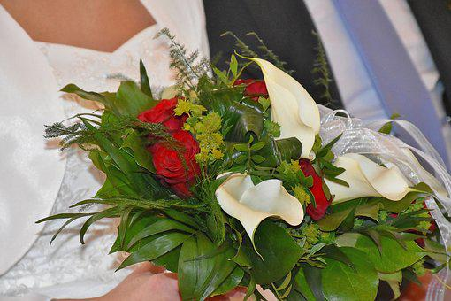 Bridal Bouquet, Wedding, Bride, Dress, Roses, Calla