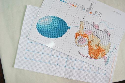 Cross Stitch, Cartoon Version, Printed Fabric
