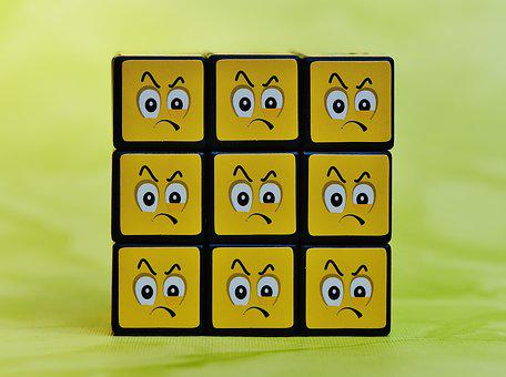 Cube, Smilies, Grim, Feelings, Emoticon, Mood, Emotion