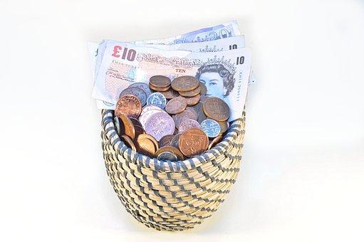 Shopping Cart, Money, Euro Banknotes, Savings, Coin